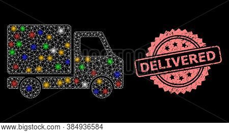 Shiny Mesh Network Delivery Car With Bright Dots, And Delivered Dirty Rosette Seal Print. Illuminate