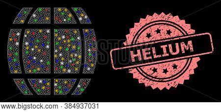 Bright Mesh Web Barrel With Flash Nodes, And Helium Unclean Rosette Stamp Seal. Illuminated Vector M