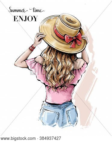 Hand Drawn Young Woman In Summer Hat. Beautiful Blonde Hair Girl. Girl With Beautiful Long Hair. Ske