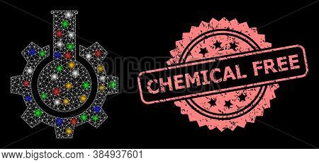 Glare Mesh Web Chemical Industry With Light Dots, And Chemical Free Dirty Rosette Stamp Seal. Illumi
