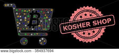 Glare Mesh Network Bitcoin Webshop With Glowing Spots, And Kosher Shop Scratched Rosette Seal Imitat