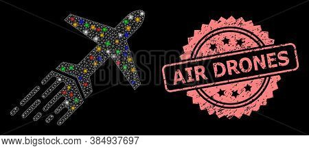 Glowing Mesh Network Air Liner With Light Spots, And Air Drones Textured Rosette Seal Print. Illumin