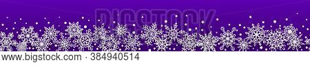 Christmas Seamless Banner Of Paper Snowflakes With Soft Shadows On Blue Background. With Horizontal