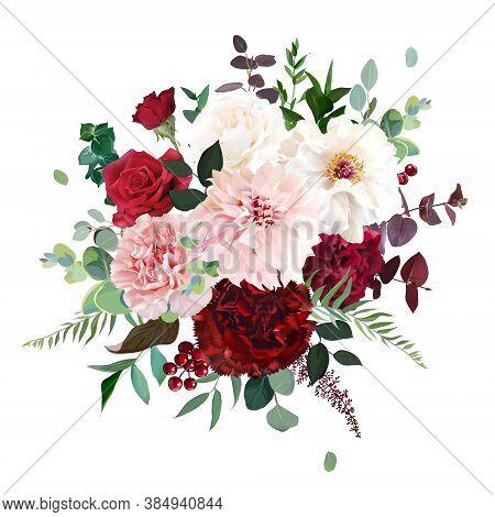 Classic Luxurious Red Rose, Pink Carnation, Dahlia, White Peony, Berry, Burgundy Astilbe, Emerald Eu