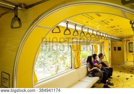 Nantou, Jiji, Taiwan - October 7th, 2019: interior of Taiwan first mobile museum, National Jiji Museum, with yellow bright color