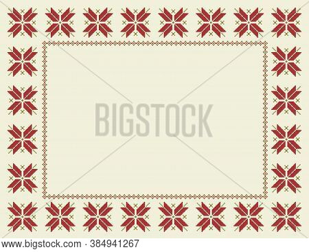 Fair Isle Christmas Frame-winter Or Christmas Stylized Frame With Fair Isle Repeating Star Pattern