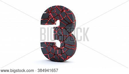 3d Render Of  Broken Number Isolated On White Background (number 3). Cracked 3d Number 3 Three.