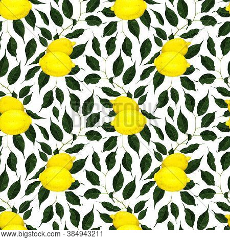 Yellow Lemon Citrus Fruit Branch With Green Leaves Seamless Pattern Texture Background Art