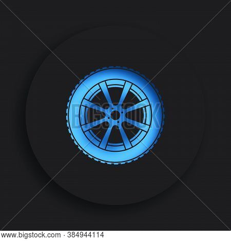 Wheel With Tire And Winter Rubber Tread In Neomorphism Style On Dark Background. Winter Tires For Ca