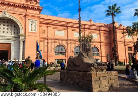 Cairo, Egypt - December 8, 2018: Building Of Museum Of Egyptian Antiquities, Known Commonly As The E