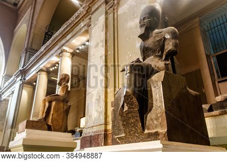 Cairo, Egypt - December 8, 2018: Large Stone Statues Of Pharaohs In Museum Of Egyptian Antiquities,