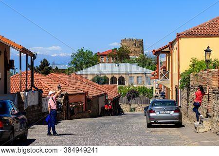 Sighnaghi, Kakheti, Georgia - May 2, 2018: Street In Medieval Town Sighnaghi. Sighnaghi Or Signagi I