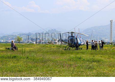 Batumi, Adjara,georgia - May 3, 2018: Blue Helicopter On A Lawn In Batumi, Georgia