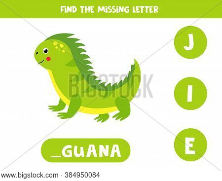 Find Missing Letter And Write It Down. Cute Iguana.