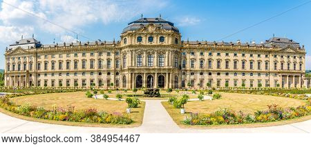 Wurzburg,germany - August 09,2020 - Panoramic View At The Wurzburger Residenz In Wurzburg. Wurzburg