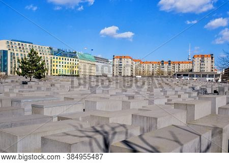 Berlin, Germany - March 26, 2017: View Of Jewish Holocaust Memorial Museum In Daylight At 26 March 2