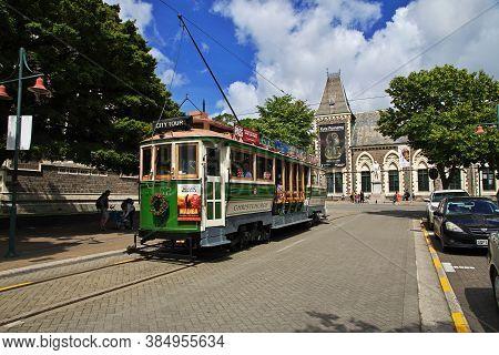 Christchurch / New Zealand - 27 Dec 2018: Tram In Christchurch On South Island, New Zealand