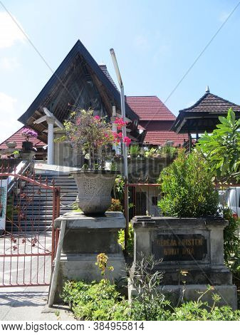 Badung, Bali, Indonesia - September 26, 2019: Gereja Kristen Bukit Doa In Puja Mandala Worship Compl
