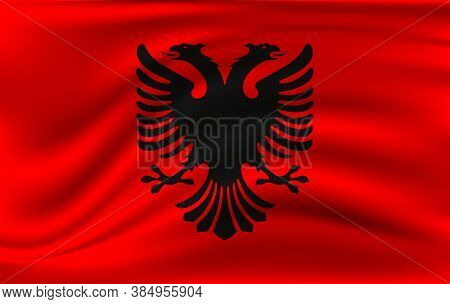Realistic Waving Flag Of The Albania. Fabric Textured Flowing Flag,vector Eps10