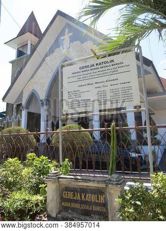 Badung, Bali, Indonesia - September 26, 2019: Mary Lady Of All Nations Church In Puja Mandala Worshi