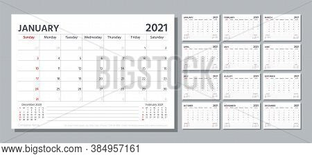 Planner 2021. Week Starts Sunday. Calendar Template. Vector. Table Schedule Grid. Yearly Stationery