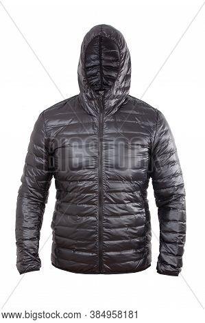 Black Men Sport Winter Jacket, Isolated White