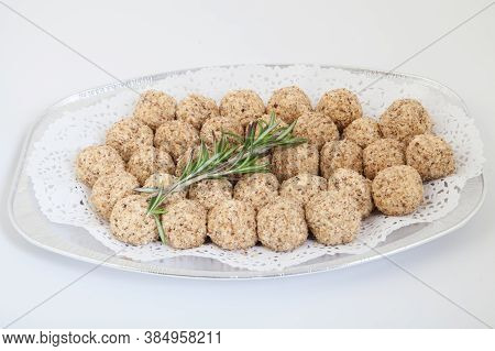 Cheese Balls In White Plate. Food Industry