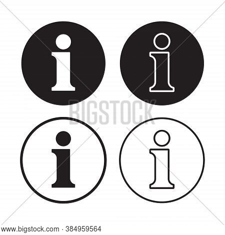 Info Vector Icon Collection. Round Shape Information Symbol Set. Helpdesk Service And Support Button