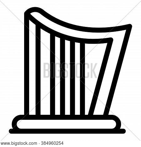 Acoustic Harp Icon. Outline Acoustic Harp Vector Icon For Web Design Isolated On White Background