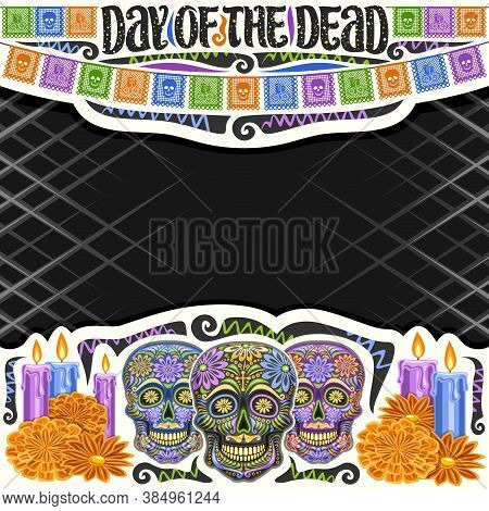 Vector Frame For Day Of The Dead With Copyspace, Decorative Cut Paper Square Layout With Illustratio