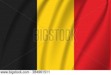 Vector Belgium Flag Blowing In The Wind