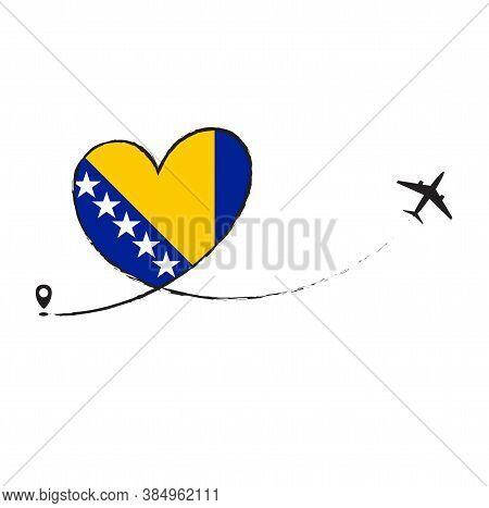 Flag Of Bosnia Love Romantic Travel Plane Airplane Airplane Airplane Flight Fly Jet Airline Line Vec