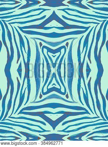 Seamless Zebra Wallpaper. Blue African Print. Watercolor Animal Texture. Zoo Banner. Zebra Ornament.