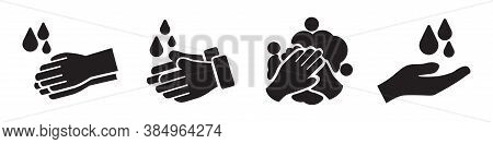 Washing Hands Vector Icons Collection In Simple Design