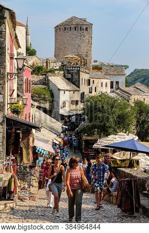 Mostar, Bosnia And Herzegovina - July 4th 2018: Kujundžiluk Street In The Old Town In Central Mostar