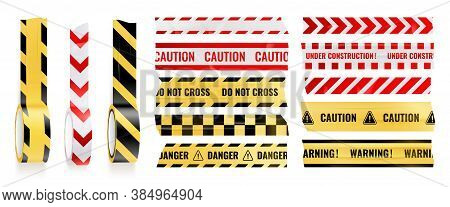 Sticky Caution Adhesive Tapes Realistic Icon Set With Warning Caution Danger And Do Not Cross Descri