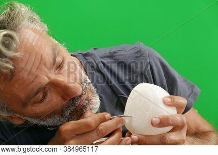 Hand Processing Alabaster Stone, Craftsman At Work