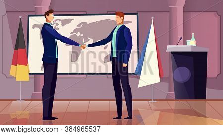 Diplomacy And Cooperation Background With Germany And France Symbols Flat Vector Illustration