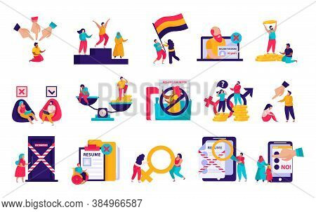 Discrimination Flat Icons Recolor Set With Gender Nationality Pay Gap Racism Age Religious Beliefs U