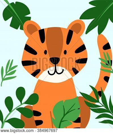 Hand Drawn Vector Tiger In Frame Of Tropical Leaves. Cute Baby Illustration