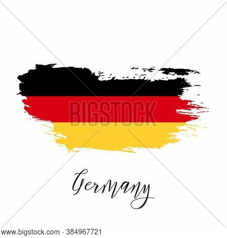 Germany Vector Watercolor National Country Flag Icon. Hand Drawn Illustration With Dry Brush Stains,