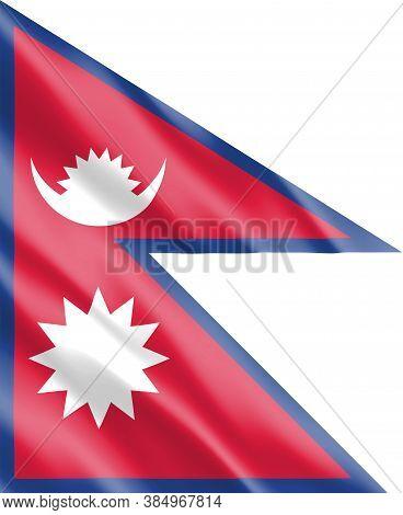 Silk Wavy Flag Of Nepal Graphic. Wavy Nepali Flag Illustration. Rippled Nepal Country Flag Is A Symb