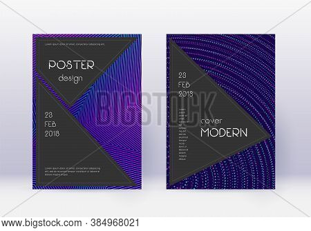 Black Cover Design Template Set. Neon Abstract Lines On Dark Blue Background. Admirable Cover Design