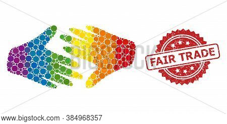 Fair Trade Handshake Mosaic Icon Of Filled Circle Spots In Various Sizes And Lgbt Color Tinges, And