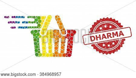 Shopping Basket Mosaic Icon Of Circle Dots In Variable Sizes And Lgbt Color Hues, And Dharma Corrode