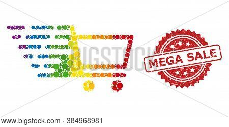 Shopping Cart Mosaic Icon Of Circle Items In Different Sizes And Spectrum Colored Color Tinges, And