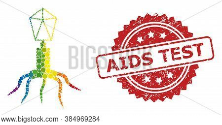 Virus Mosaic Icon Of Circle Dots In Variable Sizes And Lgbt Colored Color Tinges, And Aids Test Uncl