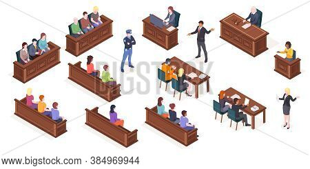 Court Hearing And Courtroom, Isolated Isometric Icons Of Judge And Justice Jury At Trial Process. Ju
