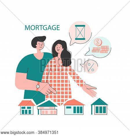 The Family Buys A House With A Mortgage. A Young Couple Chooses A Home. House Loan, Rent And Mortgag