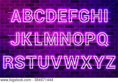 Glowing Purple Neon Lamp Alphabet. Realistic Vector Illustration. Purple Brick Wall, Violet Glow, Me